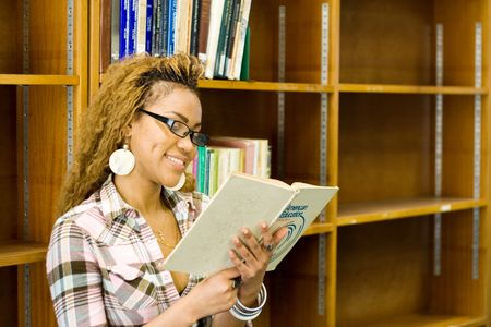 young female african student reading in library Stock Photo - 3922968