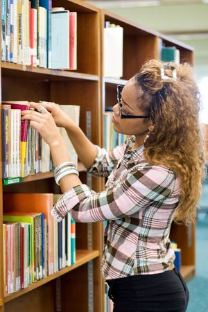 young african student in library searching for books Stock Photo - 3923082