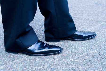office shoes: businessman shoes on concrete floor