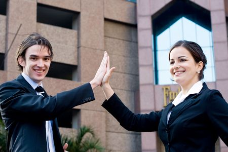 business high five photo