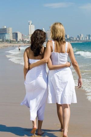 indian ocean: two women friends walking on beach