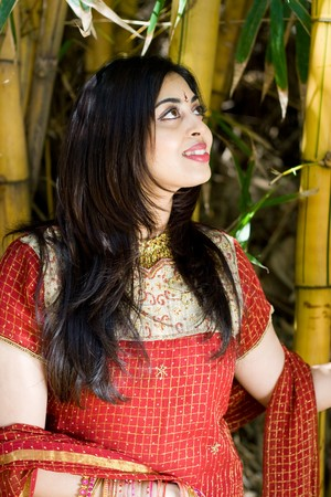 cultural and ethnic clothing: indian woman in the bamboo forest