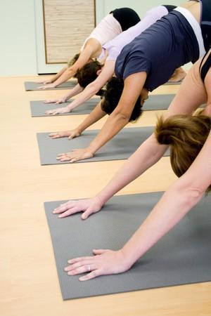 sportswoman: yoga in a studio Stock Photo