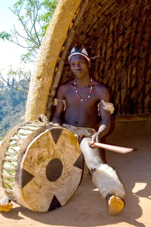 african zulu drum player Stock Photo - 3957840
