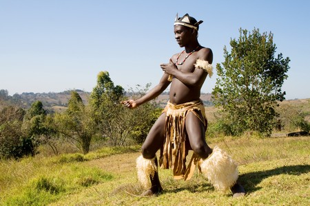african zulu tribe man Stock Photo