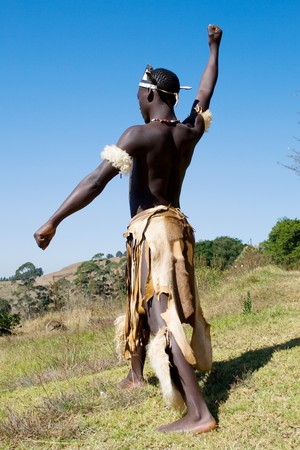 african zulu tribe man photo