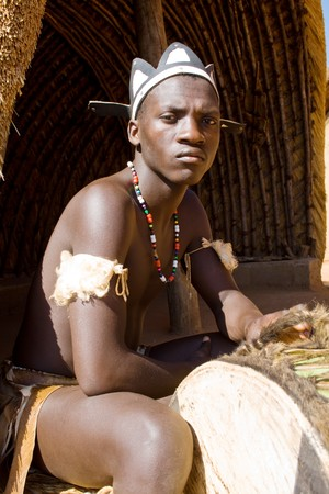 the drum: african zulu drum player