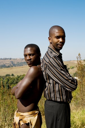 Modern and tribal african men