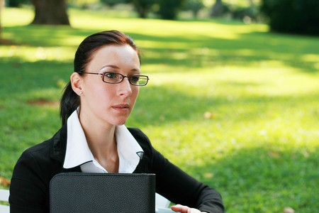 smart woman in the park photo