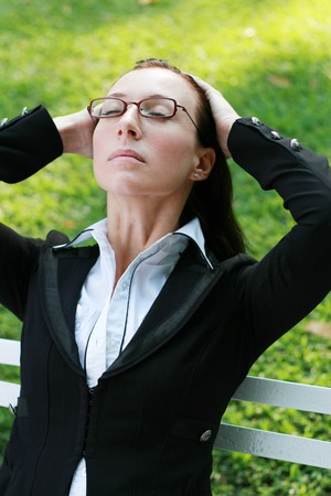 smart woman relax in the park photo