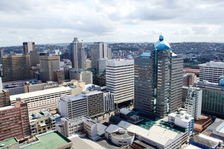 business district: modern city
