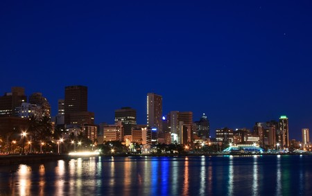 night scene of coastal city - Durban, South Africa photo