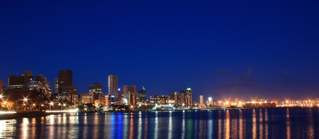 night scene of coastal city - Durban, South Africa Stock Photo