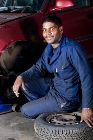portrait of an indian mechanic photo