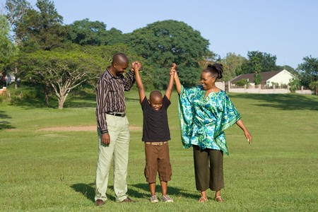 happy african family playing in the park Stock Photo - 4255791