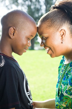africa american: happy african mother and son