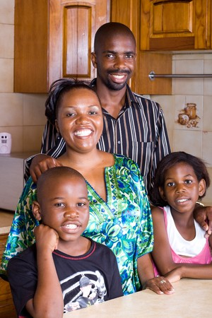 africa american: happy family at home