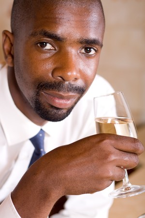 african business man with wine Stock Photo - 4243233