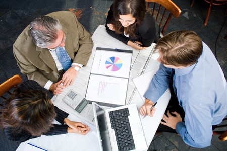 overhead view: group business people meeting  Stock Photo