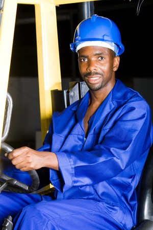 african male forklift driver photo
