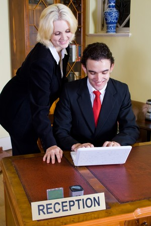 young business man and woman photo