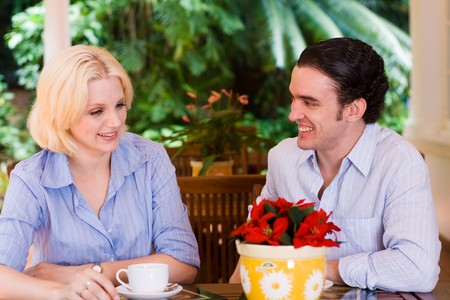 young couple drinking coffee Stock Photo - 4582762