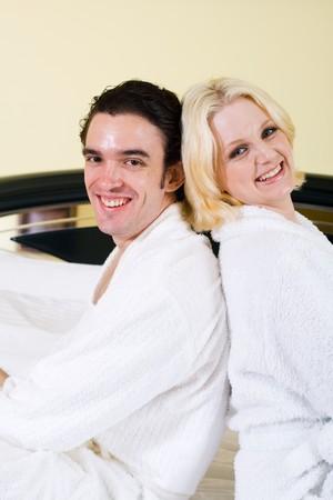 happy couple in the bedroom Stock Photo - 4582472