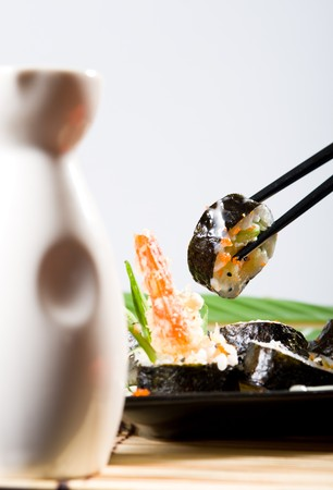 saki: eating japanese food Stock Photo