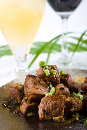 meaty: beef cooked in black bean sauce