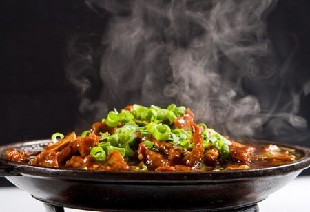 hot chinese sizzling beef Stock Photo