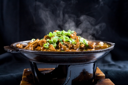 stew pot: hot chinese sizzling beef Stock Photo