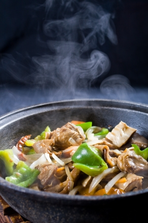 chinese pork meat stew with vegetables photo