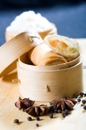chinese spring roll and spice photo