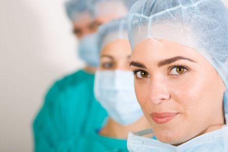 enfermera con cofia: m�dicos Foto de archivo