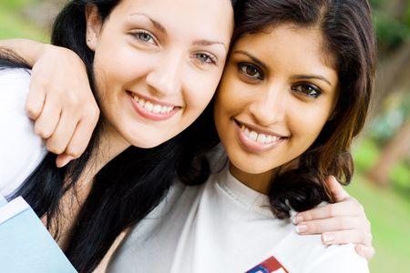 friend hug: gorgeous girls Stock Photo