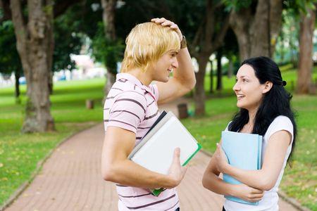 apologise: forgetful student Stock Photo