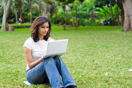 indian college student: student with laptop