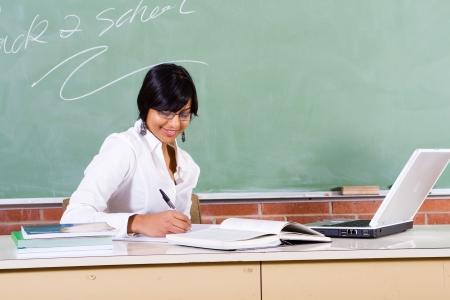teacher preparing lessons photo