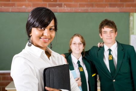 teacher with students photo