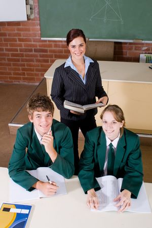 uniform student: teaching Stock Photo