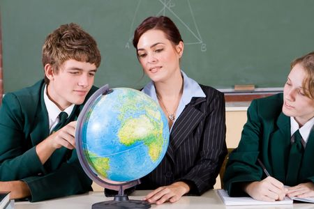 teaching geography with globe Stock Photo - 5125287
