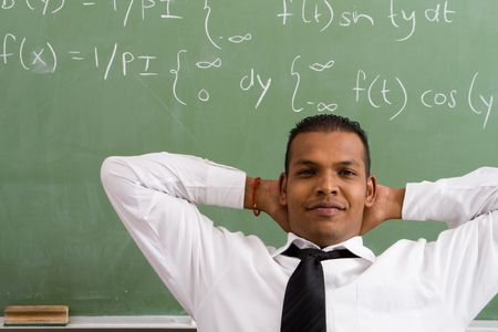 maths department: indian male teacher Stock Photo
