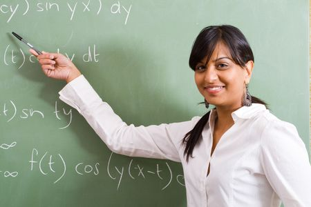 business attire teacher: indian woman teaching maths