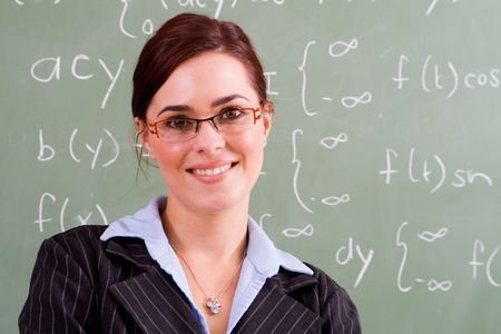 maths department: happy female teacher