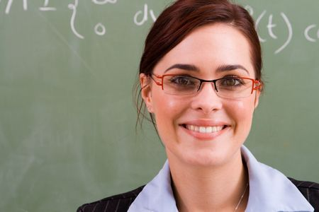 maths department: beautiful teacher Stock Photo