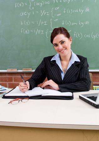 studious: smiling teacher Stock Photo