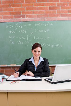 maths department: happy teacher Stock Photo