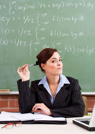 maths department: woman Stock Photo