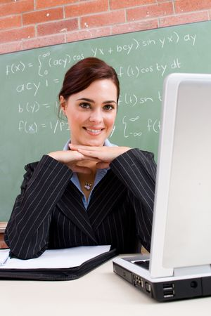 maths department: lovely maths teacher Stock Photo
