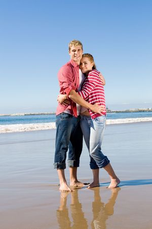 committed: couple on beach